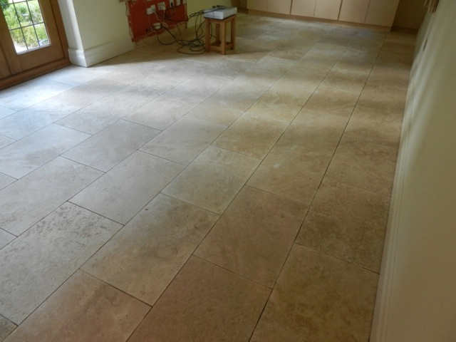 Travertine Floor Before Burnishing