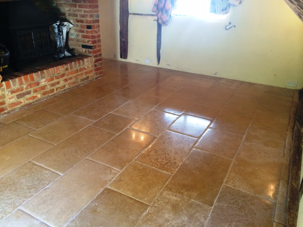 Waterleak Stains on Limestone Tiles Slough After Cleaning