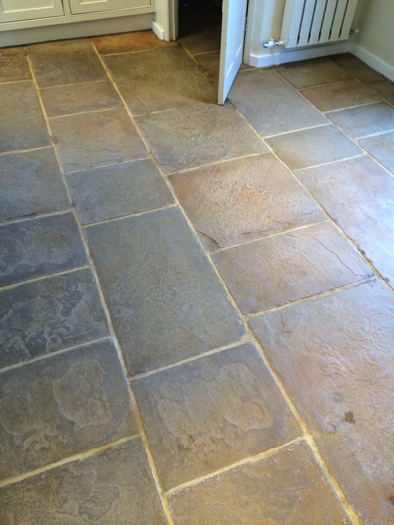 Flagstone Floor Cookham Before Cleaning