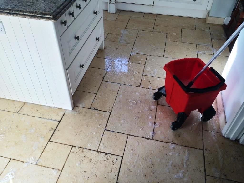 Limestone Kitchen Floor Stains Before Cleaning
