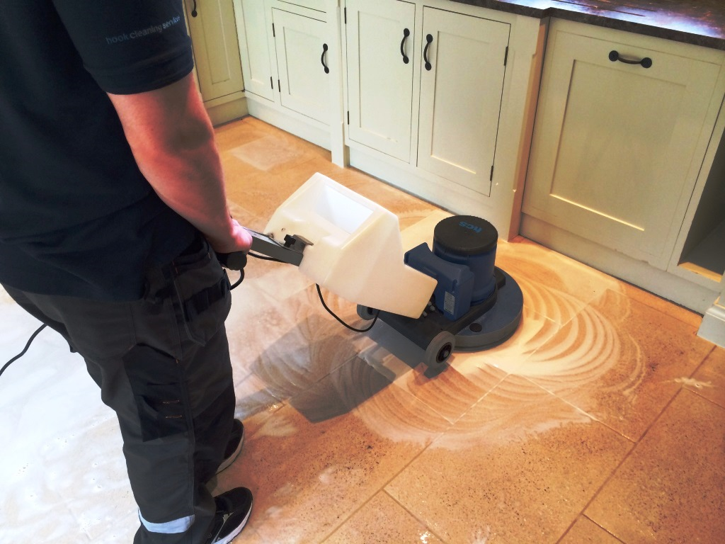 Limestone Kitchen Floor in Crookham during cleaning