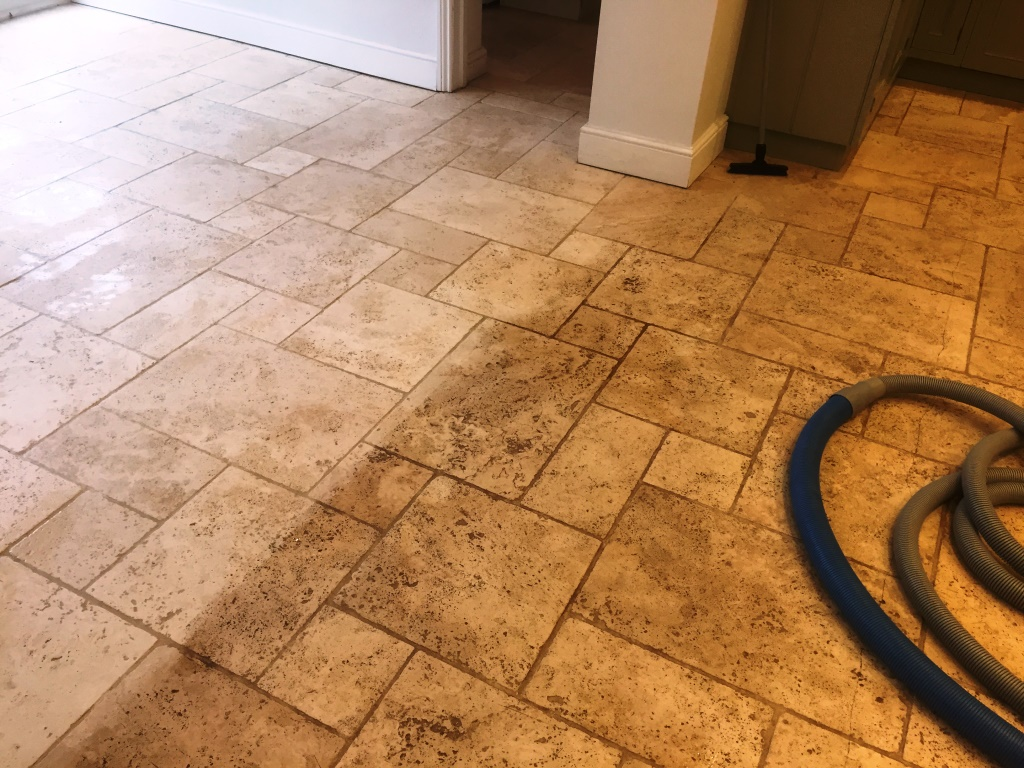 Limestone Floor During Cleaning Maidenhead