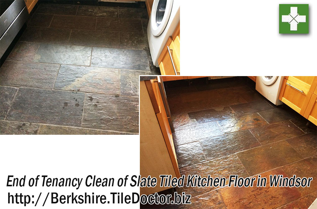 End of Tenancy Clean of Slate Tiled Kitchen Floor in Windsor