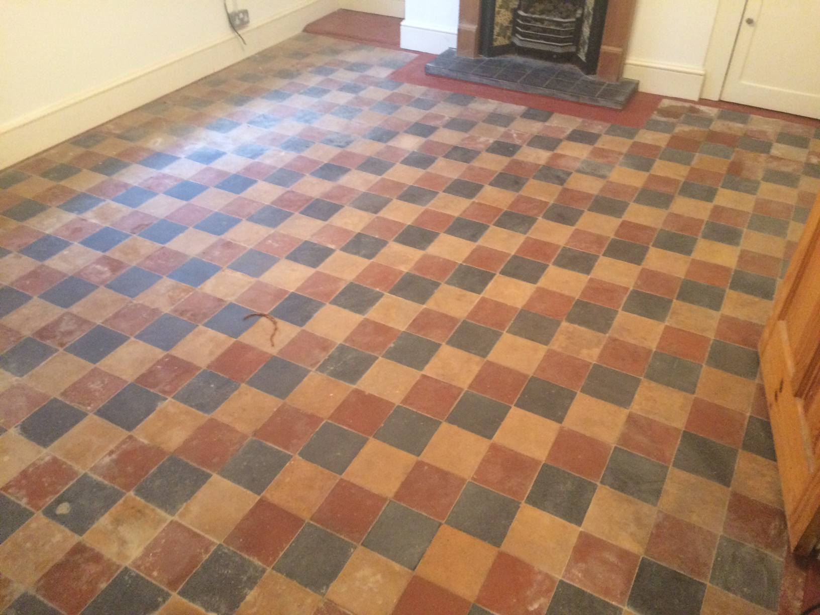 Victorian floor Covered in Lino Pangboune Before Cleaning
