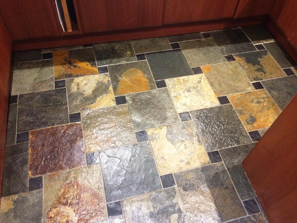 Slate Tiled Kitchen Floor After Sealing Spencers Wood