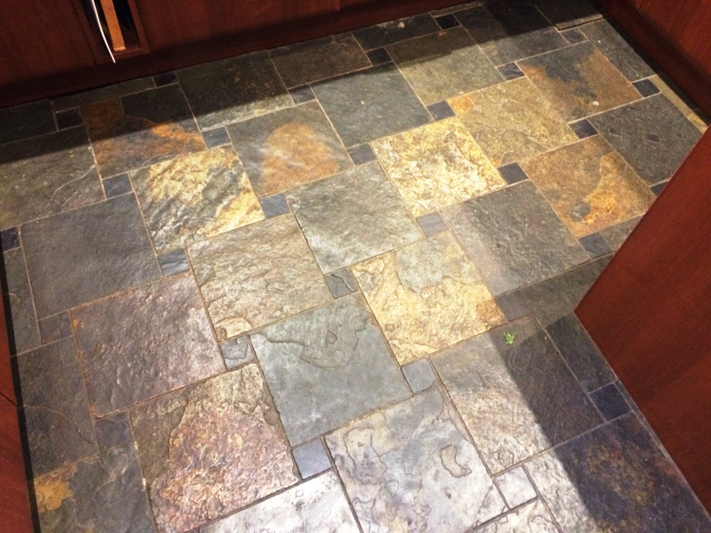 Slate Tiled Kitchen Floor Before Cleaning Spencers Wood