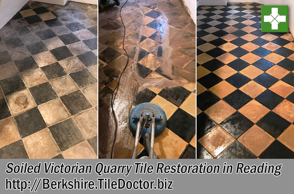 Soiled Victorian Quarry Tiles Before and After Restoration in Reading