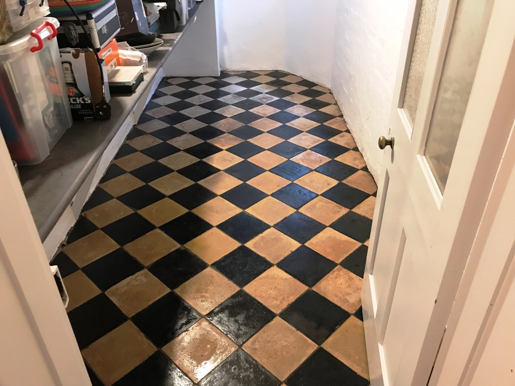 Yellow and Black Quarry Tiles After Cleaning Reading
