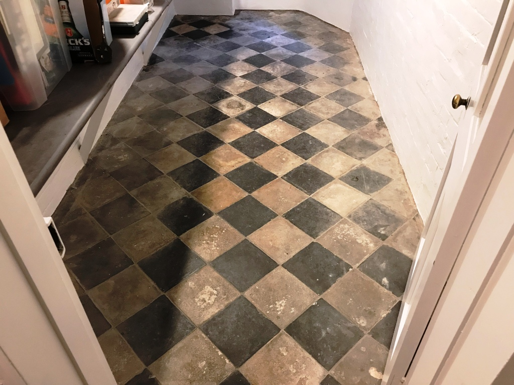 Yellow and Black Quarry Tiles Before Cleaning Reading