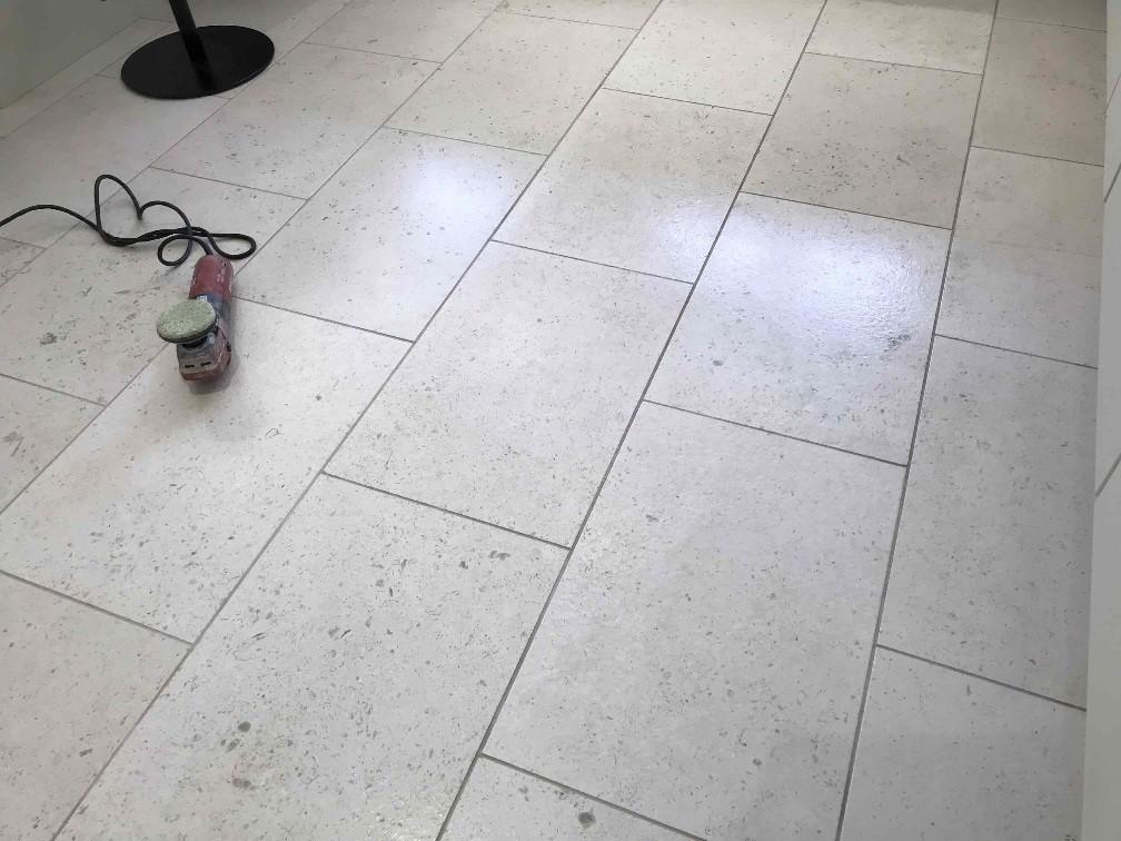 Acid Damaged Polished Limestone Floor During Restoration Wokingham