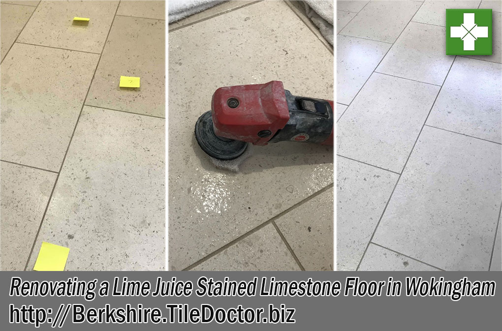 Lime Juice Stained Limestone Floor Before and After Renovation Wokingham