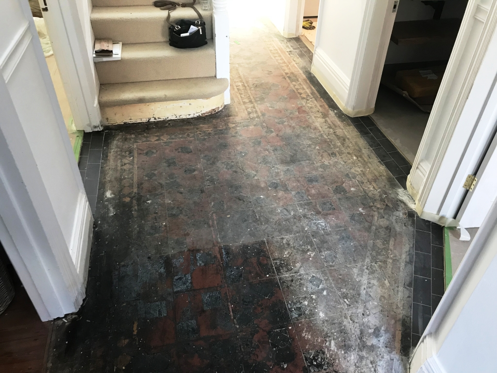 Bitumen Covered Victorian Floor Before Restoration Caversham Reading