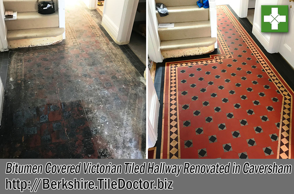Bitumen Covered Victorian Tiled Hallway Before and After Restoration Caversham