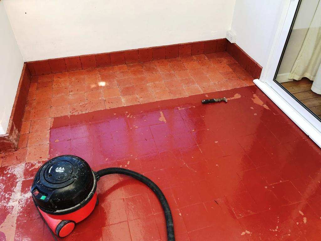 Reclaimed Painted Quarry Tile Basildon During Restoration
