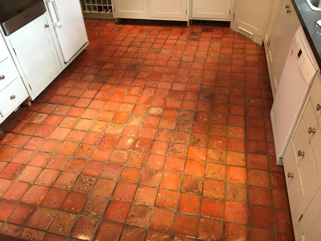 Quarry Tiled Kitchen Floor Bucklebury After Sealing