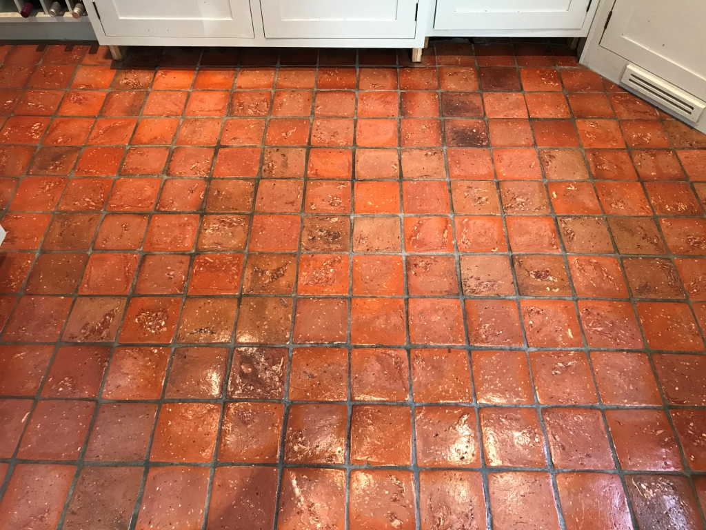Quarry Tiled Kitchen Floor Bucklebury After Sealing