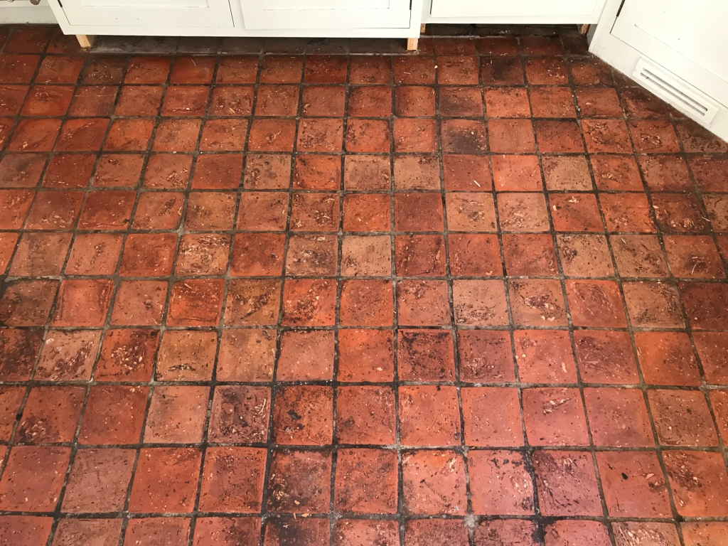 Quarry Tiled Kitchen Floor Bucklebury Before Cleaning