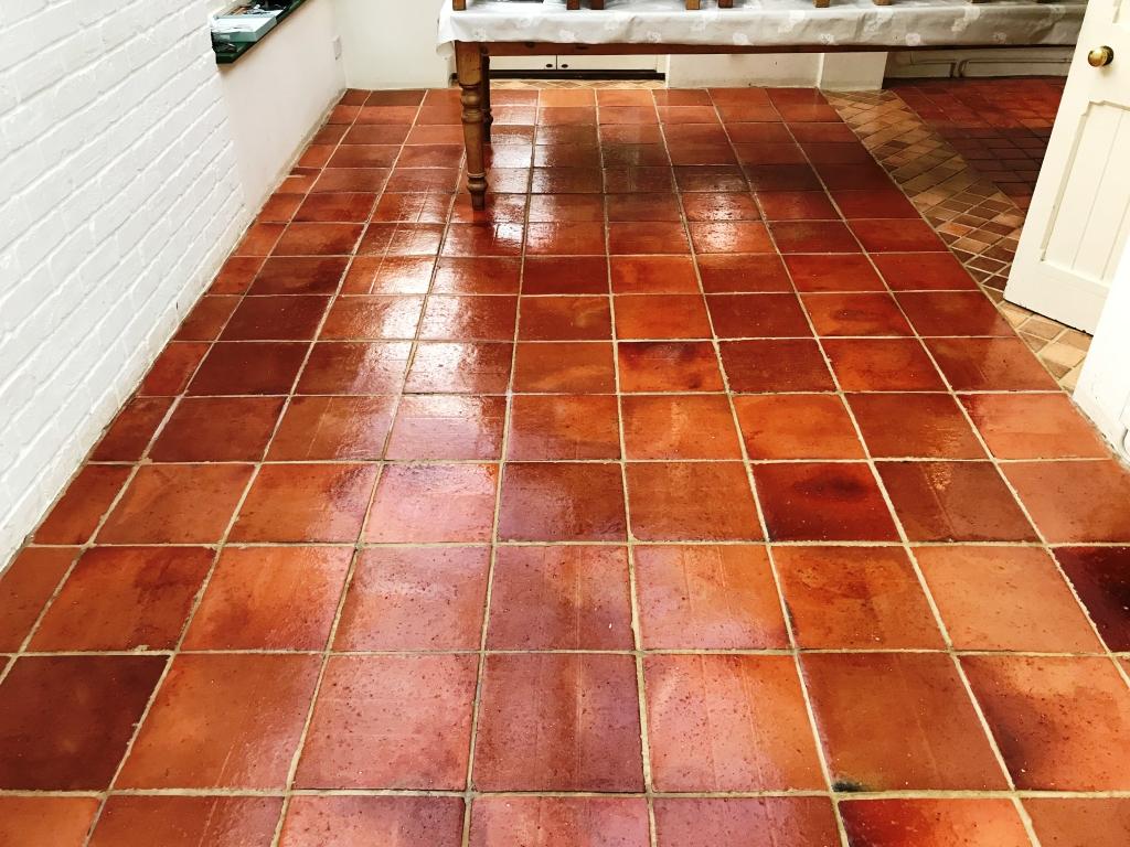 Terracotta Tiled Floor Bucklebury After Sealing