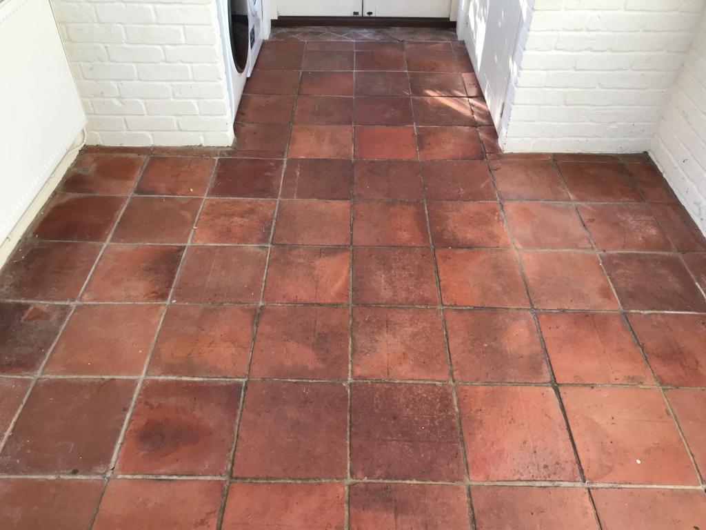 Terracotta Tiled Floor Bucklebury Before Cleaning