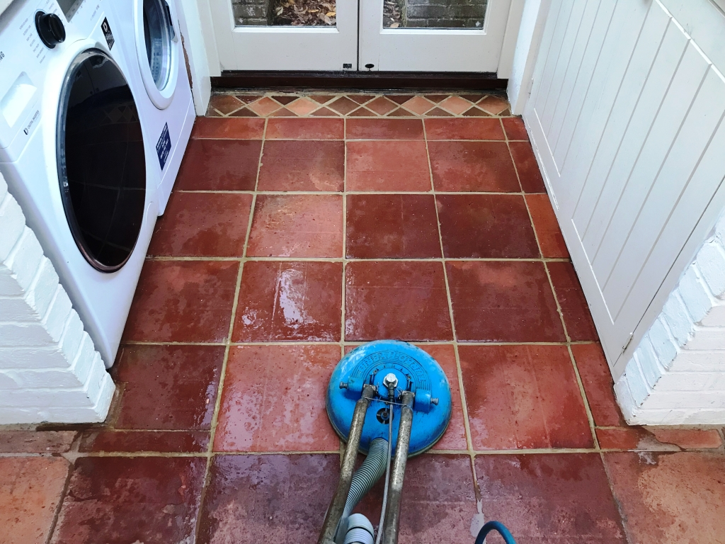 Terracotta Tiled Floor Bucklebury During Cleaning