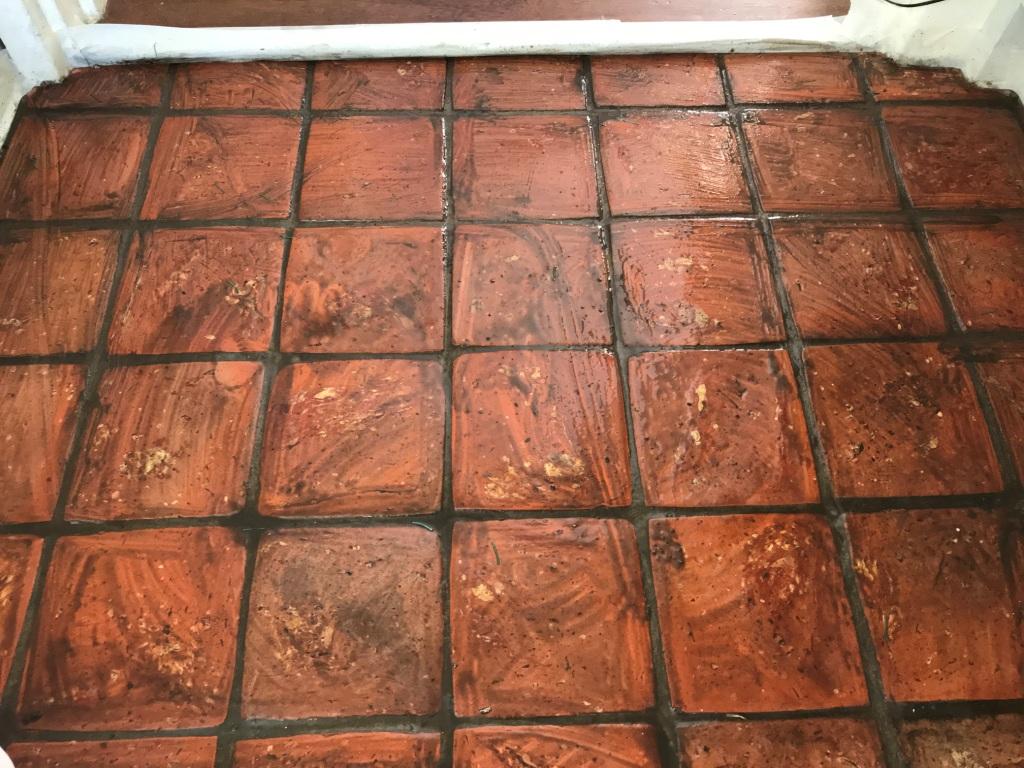 Terracotta Tiled Floor Bucklebury During Cleaning