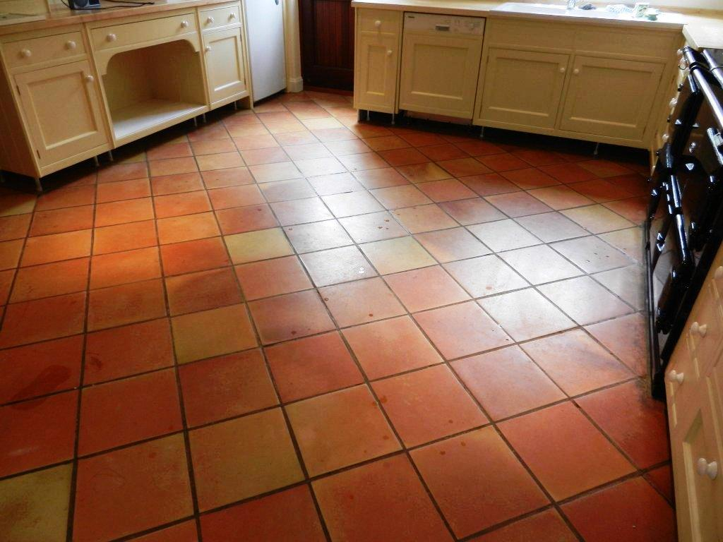 Terracotta Tiled floor in a kitchen before Cleaning and Sealing
