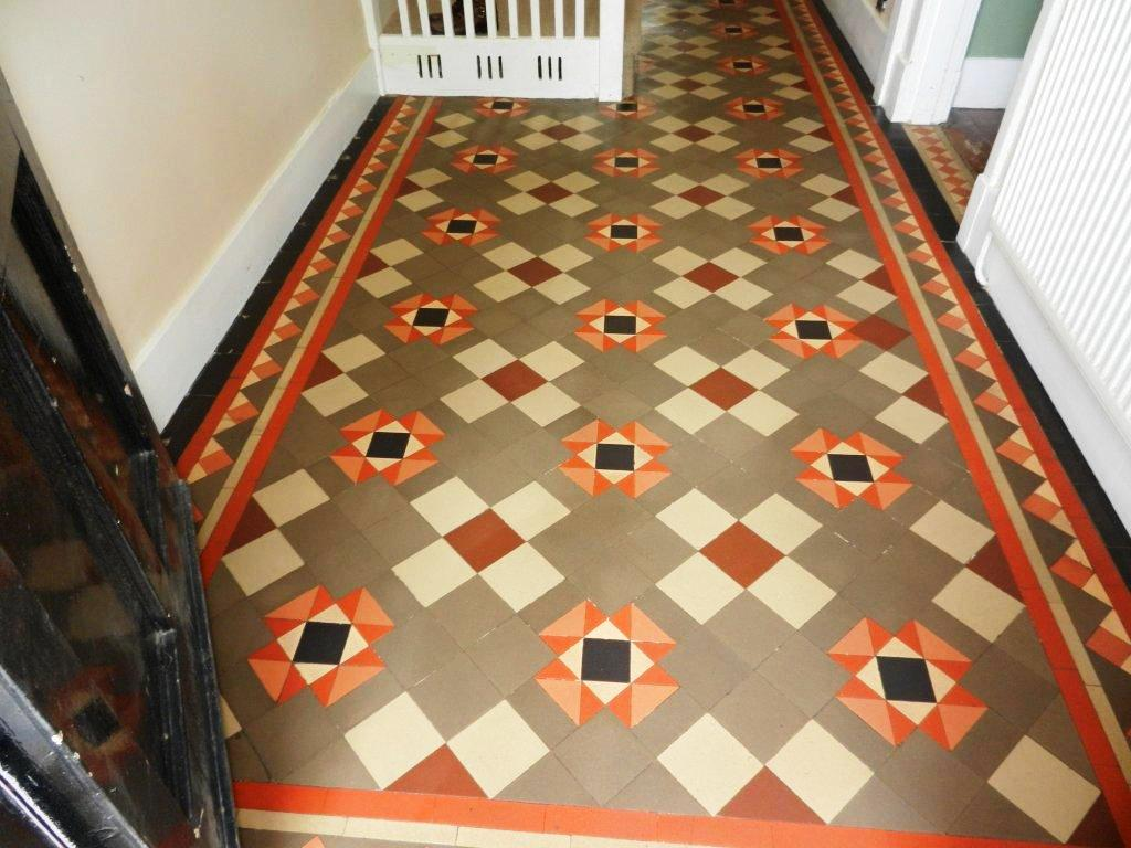 Victorian Tiled Hallway Floor After Cleaning and Sealing