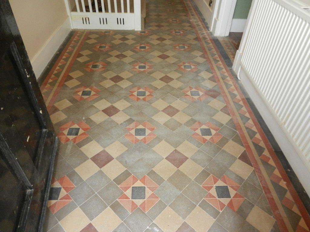 Victorian Tiled Hallway Floor Before Cleaning and Sealing