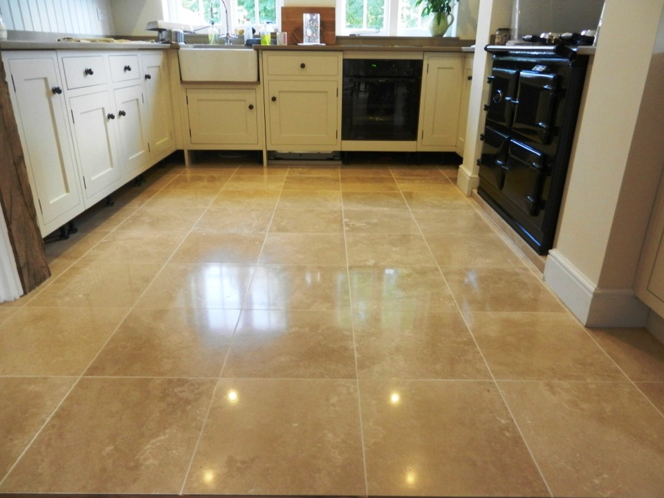Travertine Floor Before Repolishing, Travertine Floor After Repolishing