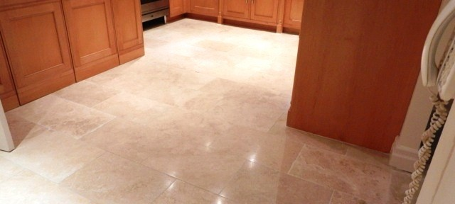 Replacing Damaged Travertine floor tiles and Polish in Ascot