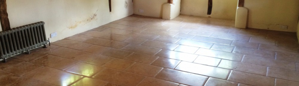 Stained Limestone Tiled Floor Stripped and Sealed in Slough