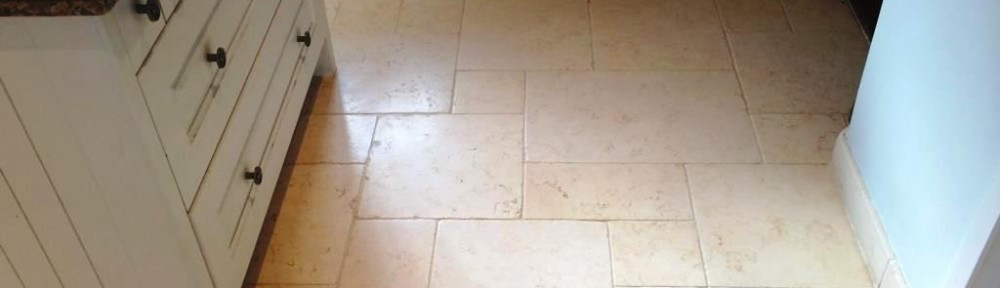 Limestone Kitchen Floor refinished near Staines