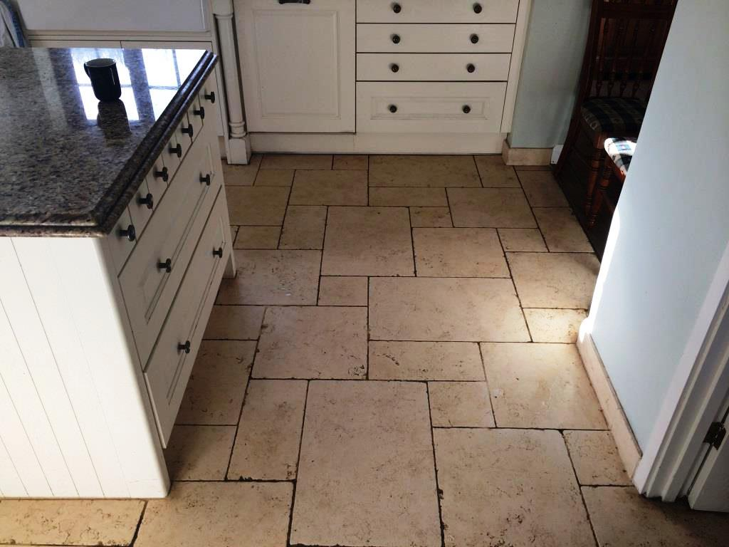 Limestone Kitchen Floor Stains Before Cleaning ...