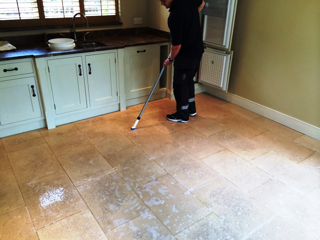 Marvelous Limestone Kitchen Floor In Crookham During Cleaning ...