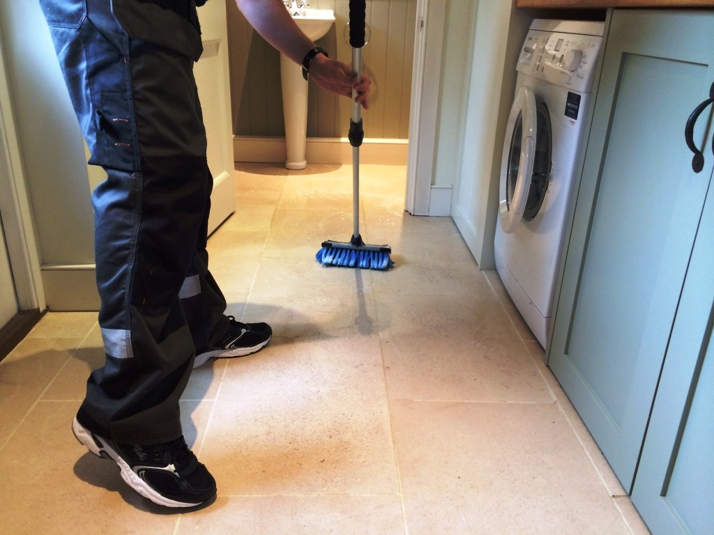 Limestone Kitchen Floor Soiled Limestone Kitchen Floor Deep Cleaned And Sealed In Crookham