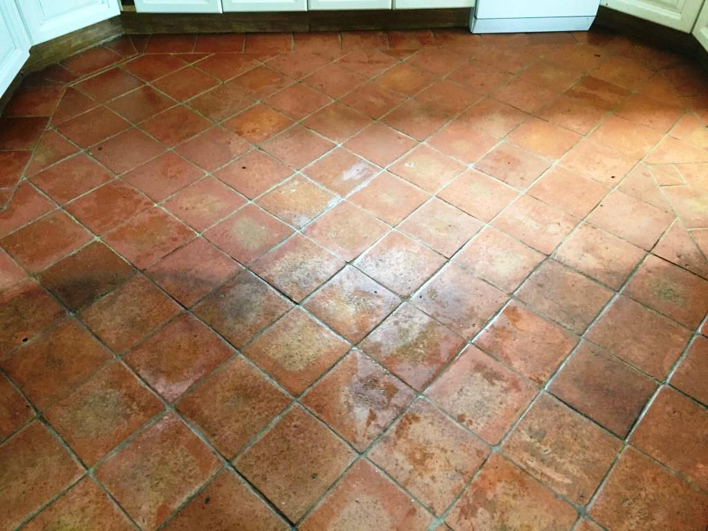 Dirty Terracotta Tiles And Grout Cleaned And Sealed In Fifield