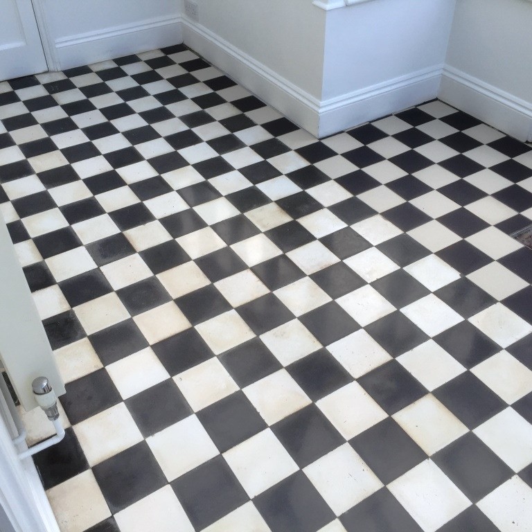Victorian Effect Marble Floor tiles after cleaning Steatley