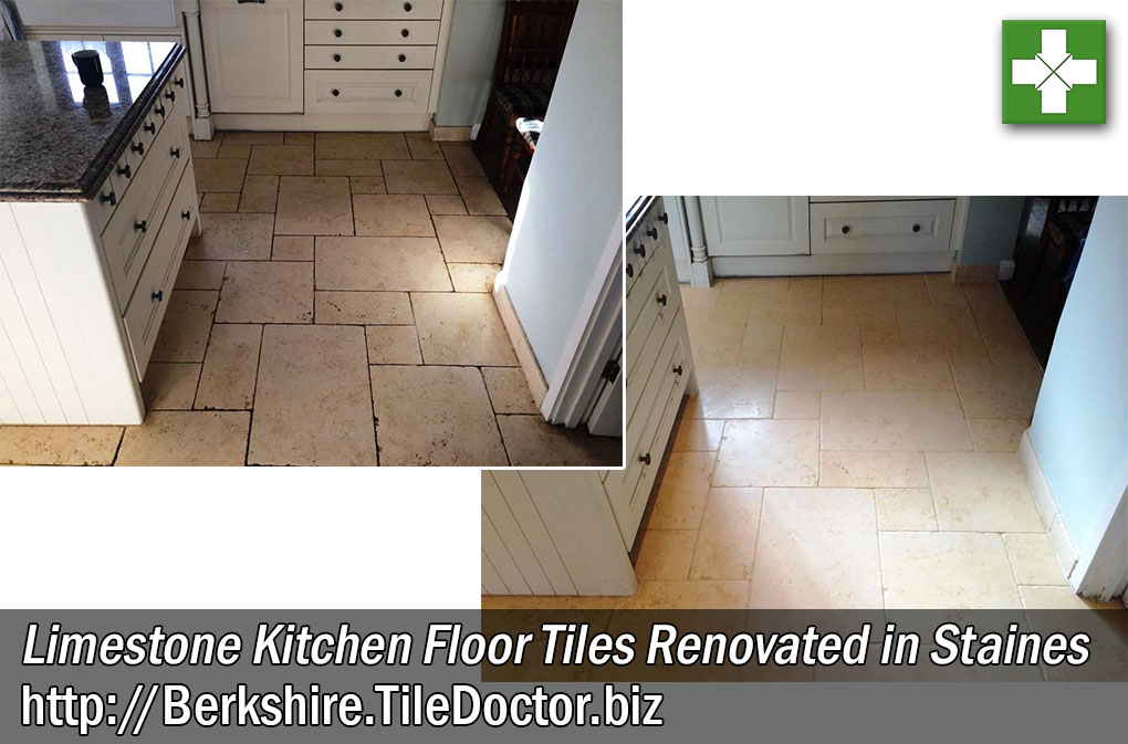 Limestone Kitchen Floor Tile Renovation in Staines