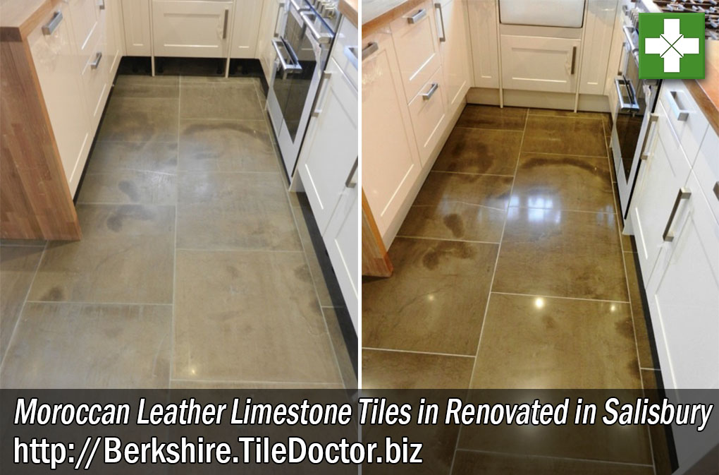 Moroccan Leather Limestone Tiled Floor Before and After Cleaning in Salisbury