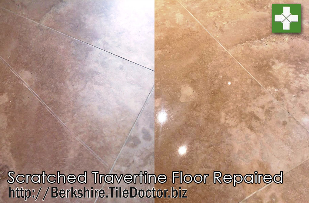 Scratched travertine floor before and after repair in Hunt