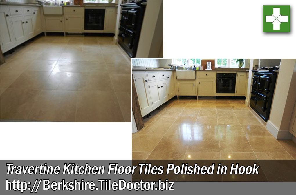 Travertine Tiled Kitchen Floor Before and After Polishing in Hook