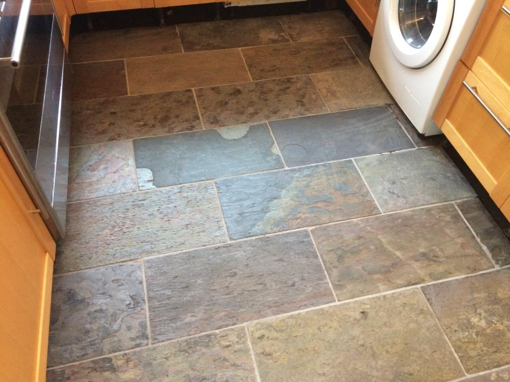 Slate Kitchen Floor After Cleaning in Windsor