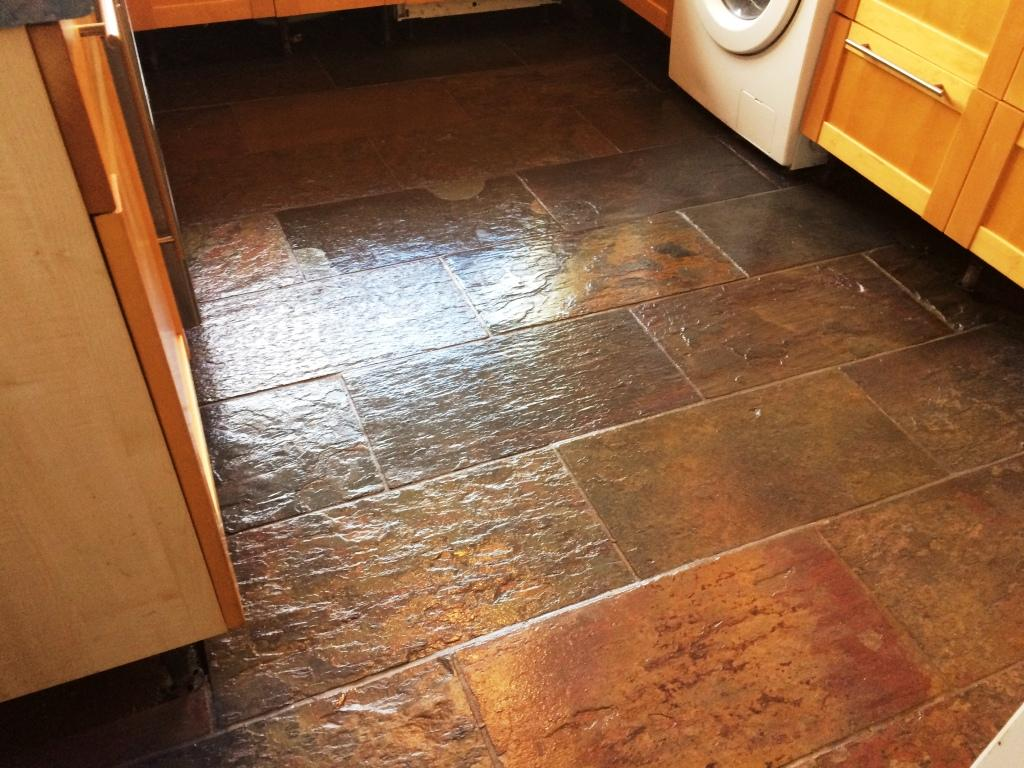 Slate Kitchen Floor After Restoration in Windsor