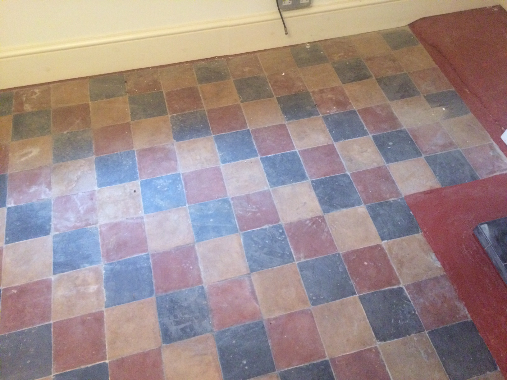 Restoring damaged and stained original victorian tiles in for Victorian lino flooring
