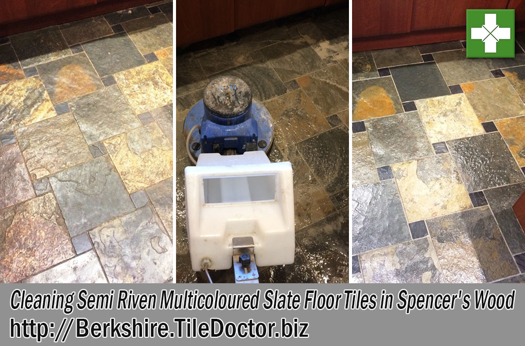Multicoloured Slate Tiled Floor Before and After Cleaning in Spencers Wood