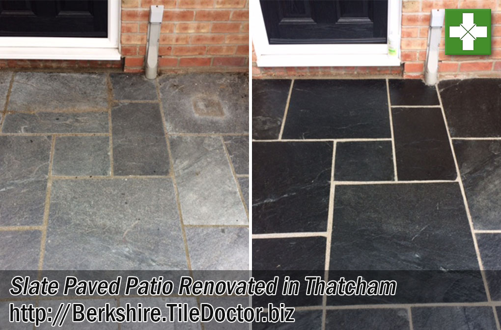 Slate Paved Patio Floor Before and After Renovation in Thatcham