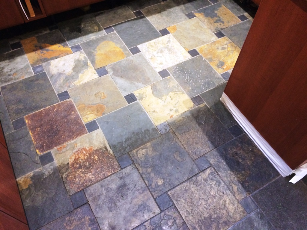 Slate Tiled Kitchen Floor During Cleaning Spencers Wood