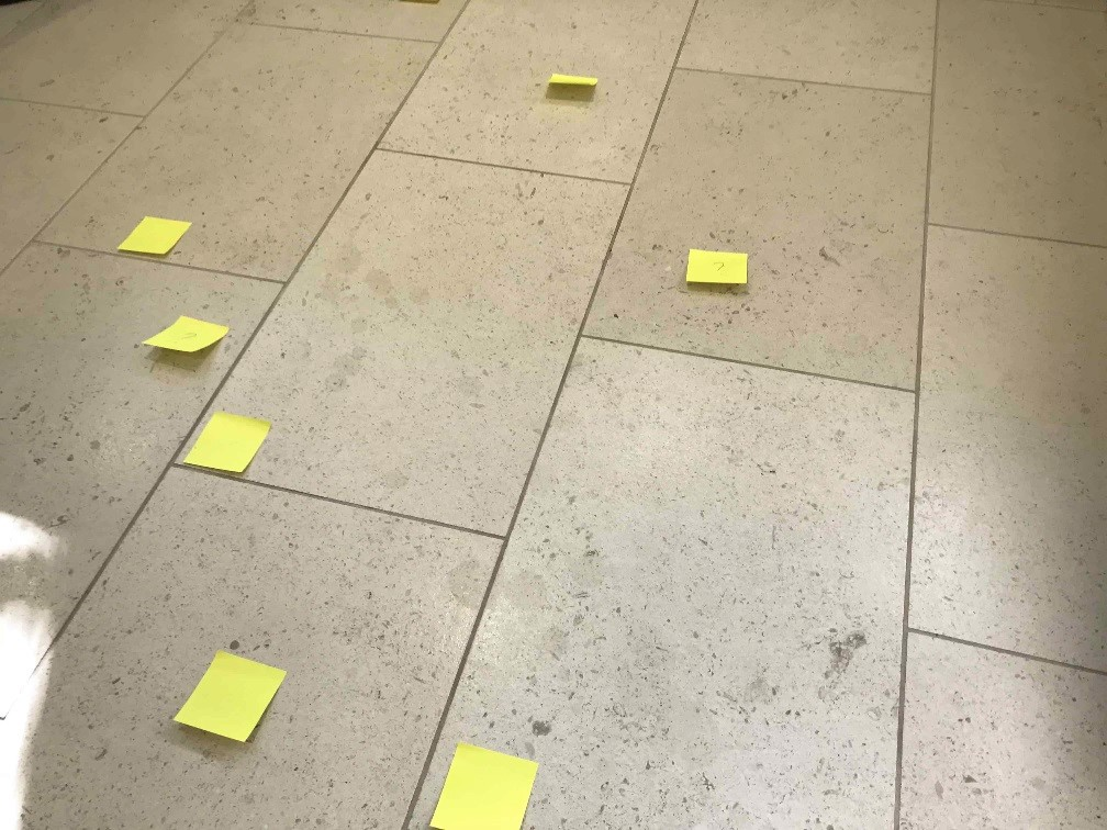 Acid Damaged Polished Limestone Floor Wokingham Before Restoration