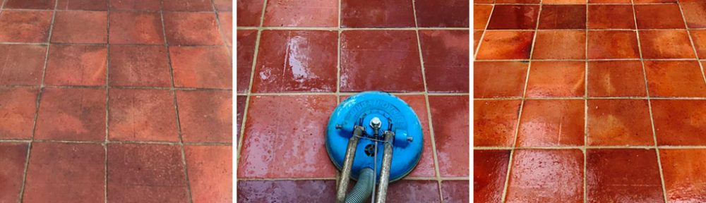 Dirty Wax Sealed Quarry and Terracotta Floor Renovated in Bucklebury