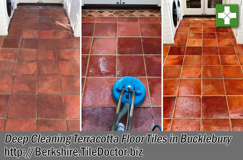 Dirty Terracotta Tiled Floor Before After Cleaning Bucklebury Berkshire
